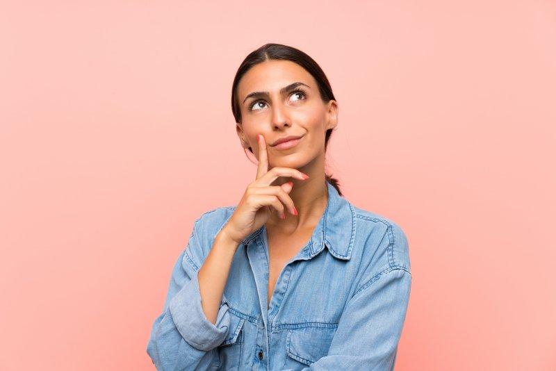 Closeup of woman thinking